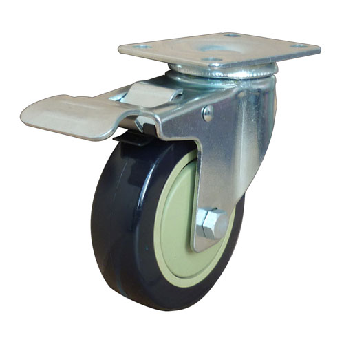 Black medium duty swivel caster with total brake